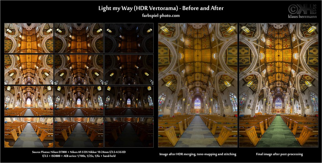 Before and After comparison of the 12-exposure HDR Vertorama 'Light my Way'. Created with Photoshop and Photomatix
