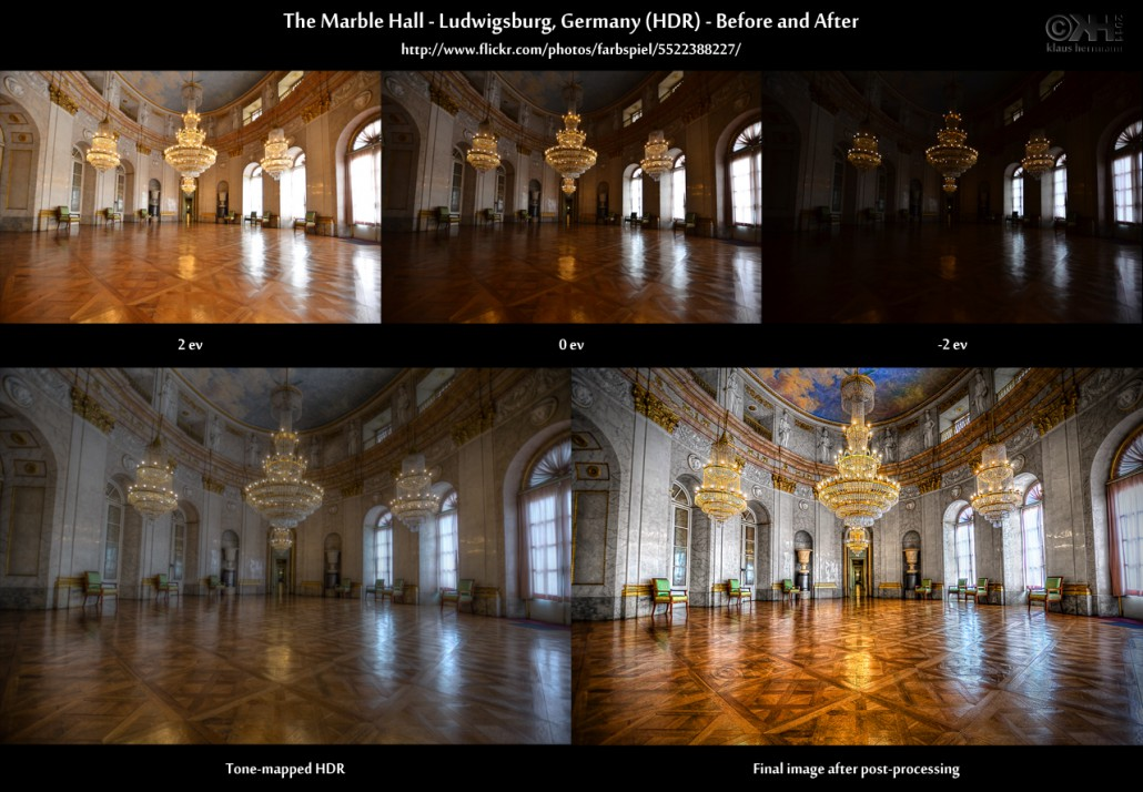 Before-and-after comparison of an HDR image: The Marble Hall - Ludwigsburg, Germany (HDR)
