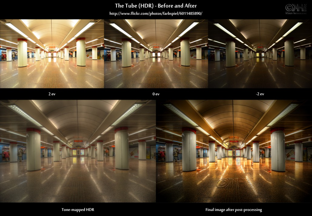 Before-and-after comparison of an HDR image depicting a tube station in Budapest