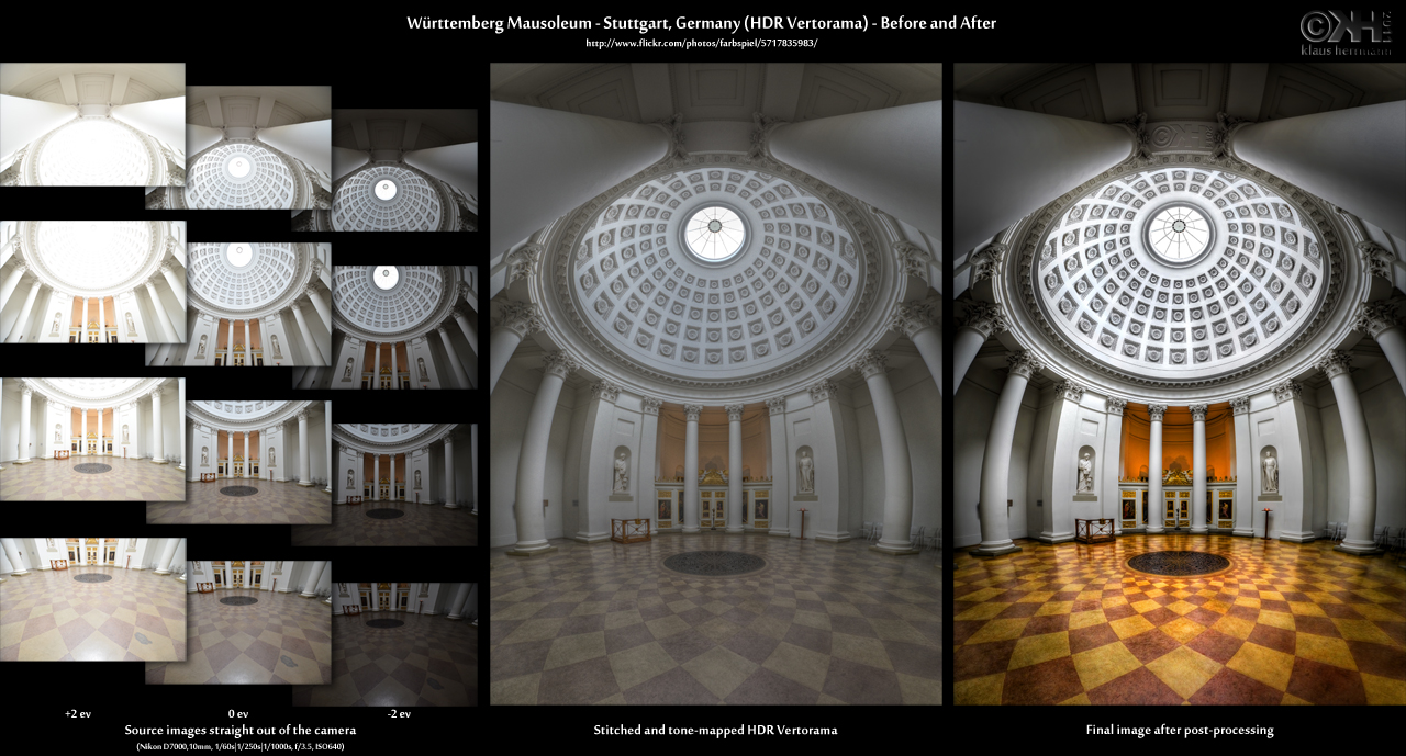 Before-and-after comparison of an HDR Vertorama photo: Württemberg Mausoleum - Stuttgart, Germany (HDR Vertorama)
