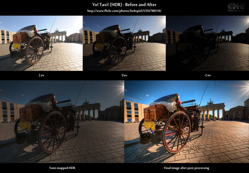 Before-and-after comparison of a sunset HDR image taken in Berlin - Yo! Taxi! (HDR)