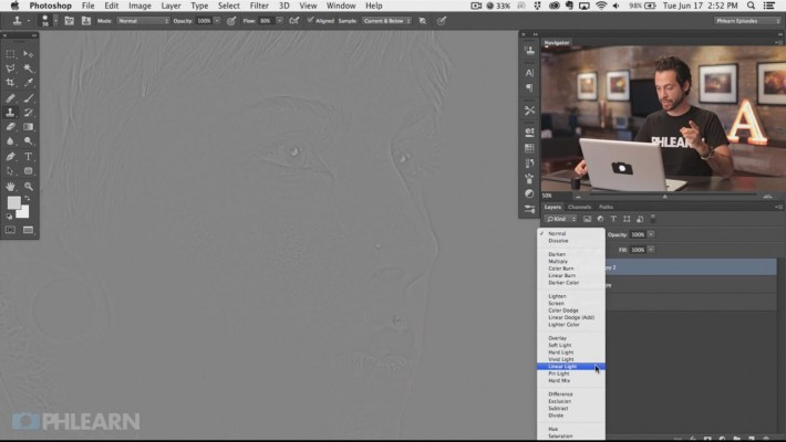 Use the Linear Light blending mode to bring both layers back together.