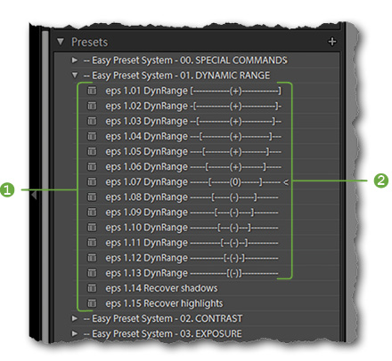 Using numbers to enforce a custom order on your presets. In the Easy Preset System, each preset has a unique prefix number (1). This forces Lightroom to order the presets according to the strength of their effect (here: increasing the dynamic range of the image) that is also indicated by a scale suffix (2).
