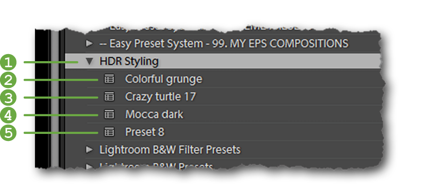 Preset naming example. A descriptive folder name () gives the user a general idea of what to expect from the presets inside. Overly generic () and completely unrelated names () are counter-intuitive and not helpful. Try using names users can relate to visually ( and ) at least to a certain degree.